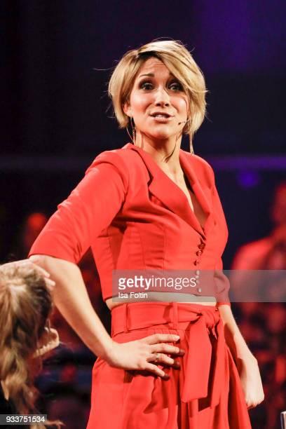 German singer AnnaMaria Zimmermann during the tv show 'Heimlich Die grosse SchlagerUeberraschung' on March 17 2018 in Munich Germany