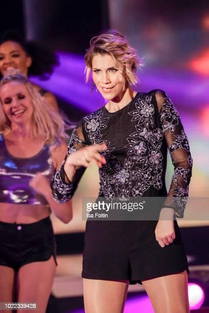 German singer AnnaMaria Zimmermann performs during the tv show 'Stefanie Hertel Meine Stars' on August 23 2018 in Zwickau Germany