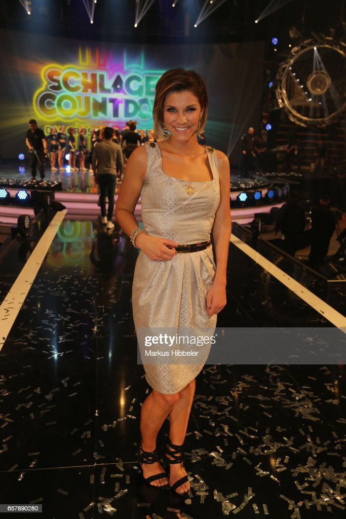 German singer Anna-Maria Zimmermann poses during the show 'Schlagercountdown - Das grosse Premierenfest' at EWE Arena on March 25, 2017 in Oldenburg, Germany.