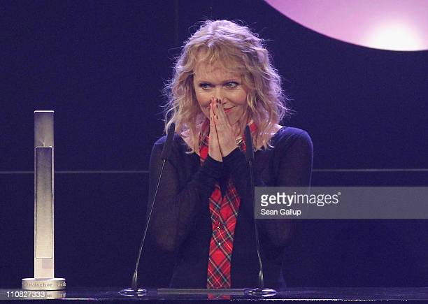 German singer Annette Humpe receives her Lifetime Achievement Award at the Echo Awards 2011 at Palais am Funkturm on March 24 2011 in Berlin Germany
