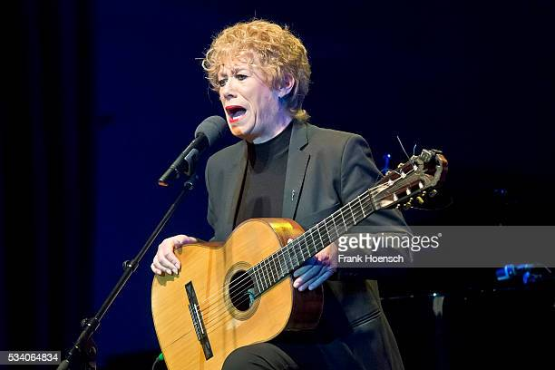 German singer Barbara Thalheim performs live during a tribute concert to Bob Dylan at the Wintergarten on May 24, 2016 in Berlin, Germany.