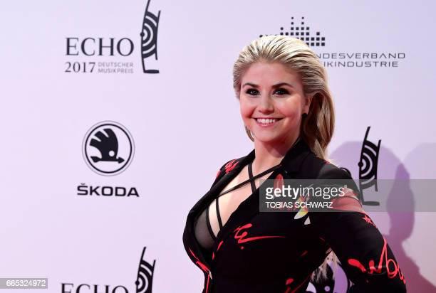 German singer Beatrice Egli arrives for the 2016 Echo Music Awards in Berlin on April 6 2017 / AFP PHOTO / Tobias SCHWARZ