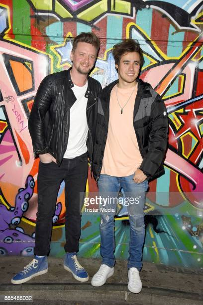 German singer Ben Zucker and mexican actor and singer Jorge Blanco attend the Semmel Concerts Press Lunch on December 4 2017 in Berlin Germany