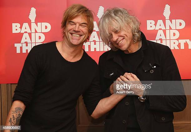 German Singer Campino and Irish Singer Bob Geldof arrive for a press conference about the German version of a 30th anniversary edition of the 80s...