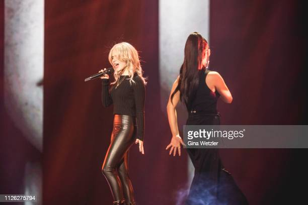 German singer Carlotta Truman and Laura Käste from Ssters perform live on stage during the rehearsals for Unser Lied fuer Israel at Studio Berlin...