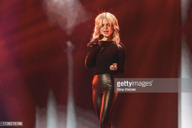 German singer Carlotta Truman from Ssters performs live on stage during the rehearsals for Unser Lied fuer Israel at Studio Berlin Adlershof on...