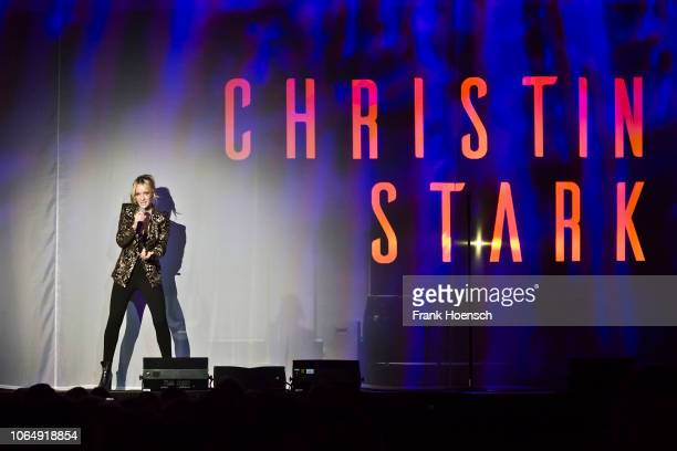German singer Christin Stark performs live on stage in support of Beatrice Egli during a concert at the Tempodrom on November 24 2018 in Berlin...