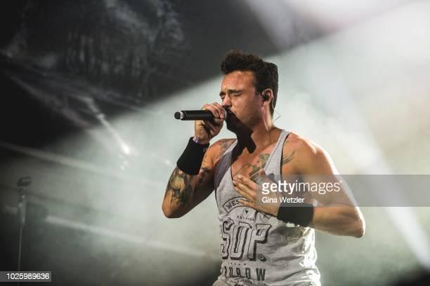 German singer DagAlexis Kopplin from the band SDP performs live on stage during 'Fritz DeutschPoeten' at the IFA Sommergarten on September 01 2018 in...