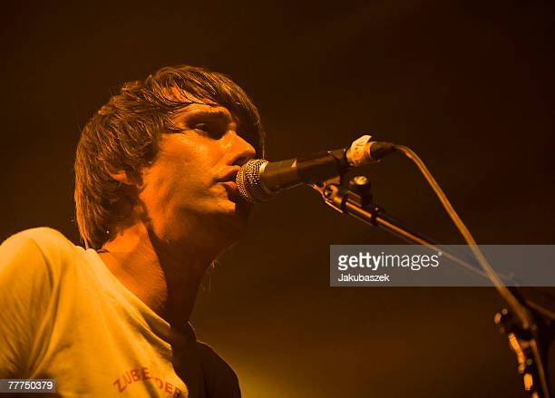 German singer Dirk von Lowtzow of the band Tocotronic performs live during a concert at the Columbiahalle on November 6 2007 in Berlin Germany The...