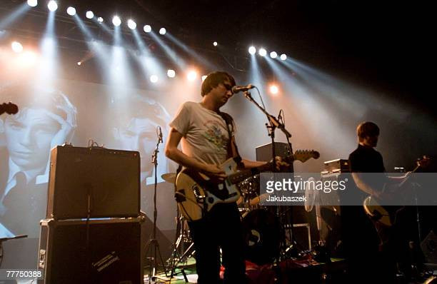 German singer Dirk von Lowtzow of the band Tocotronic performs live during a concert at the Columbiahalle on November 6, 2007 in Berlin, Germany. The...