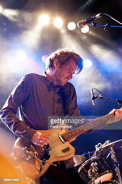 German singer Dirk von Lowtzow of Tocotronic performs live during a concert at the Columbiahalle on April 14, 2013 in Berlin, Germany.