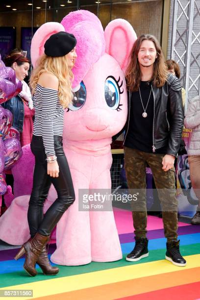 German singer Gil Ofarim and his wife Verena Brock attends the 'My little Pony' Premiere at Zoo Palast on October 3 2017 in Berlin Germany