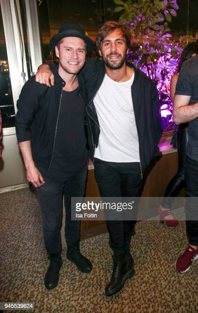 German singer Gregor Meyle and German singer Max Giesinger during the Echo Award after show party at Palais am Funkturm on April 12 2018 in Berlin...