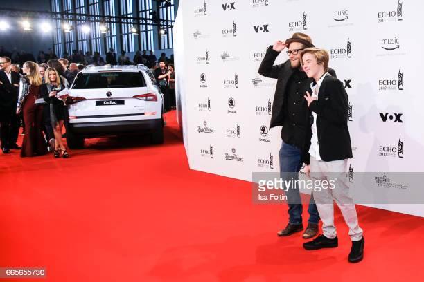 German singer Gregor Meyle and singer Matteo Markus Bok during the Echo award red carpet on April 6 2017 in Berlin Germany