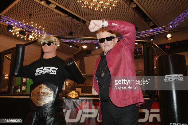 German Singer Heino gestures after he received the Lifetime Achievement Award Europe 2018 by Martial Arts Industry Association during the Martial...