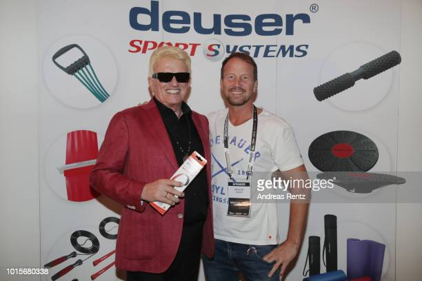 German Singer Heino poses with Alexander Leipold after Heino received the Lifetime Achievement Award Europe 2018 by Martial Arts Industry Association...