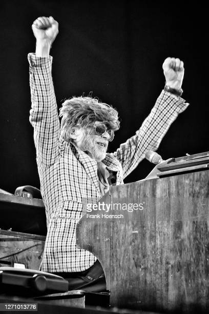 German singer Helge Schneider performs live on stage during a concert at the Waldbuehne on September 6, 2020 in Berlin, Germany.