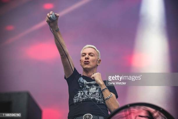 German singer H.P. Baxxter of Scooter performs live on stage during the first day of the Lollapalooza Berlin music festival at Olympiagelände on...