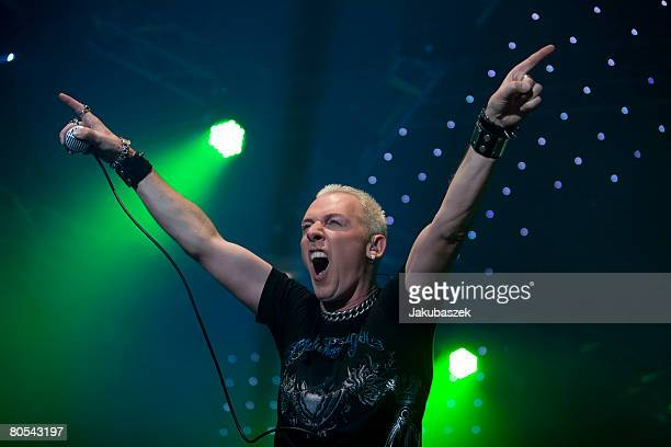 German singer HP Baxxter of the Electro Band Sccoter performs live during a concert at the Columbiahalle on April 06 2008 in Berlin Germany The...