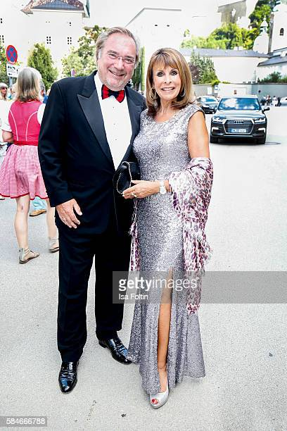 German singer Ireen Sheer and her husband KlausJürgen Kahl attend the premiere of the opera 'Cosi Fan Tutte' on July 29 2016 in Salzburg Austria