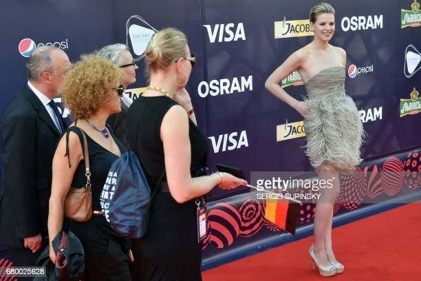 German singer Isabella Levina Lueen aka Levina poses during the Red Carpet ceremony of the 2017 Eurovision song Contest, in Kiev, on May 7, 2017. The...