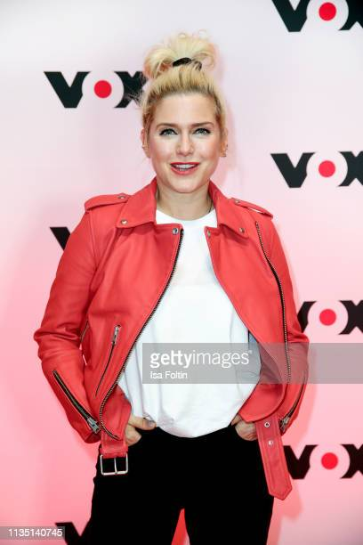 German singer Jeanette Biedermann attends the press conference by tv channel VOX to present new series in programme at Bertelsmann Repraesentanz on...