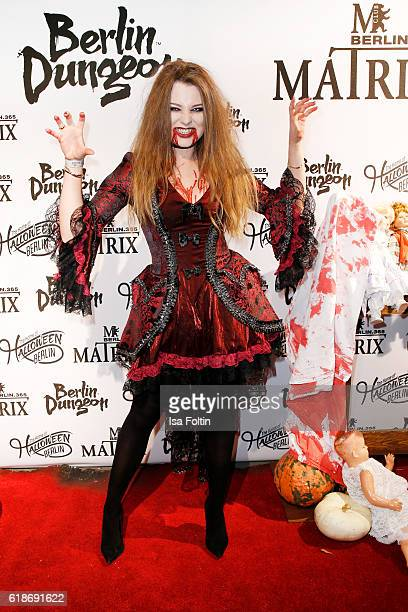 German singer Joelina Drews attends the Halloween party by Natascha Ochsenknecht at Berlin Dungeon on October 27 2016 in Berlin Germany