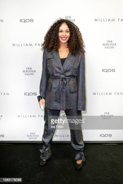 German singer Joy Denalane arrives at the William Fan Defile during 'Der Berliner Salon' Autumn/Winter 2019 at Knutschfleck on January 15 2019 in...