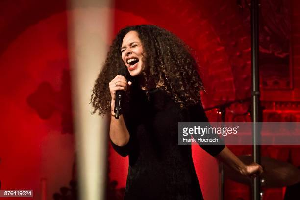 German singer Joy Denalane performs live on stage during a concert at the Passionskirche on November 19 2017 in Berlin Germany