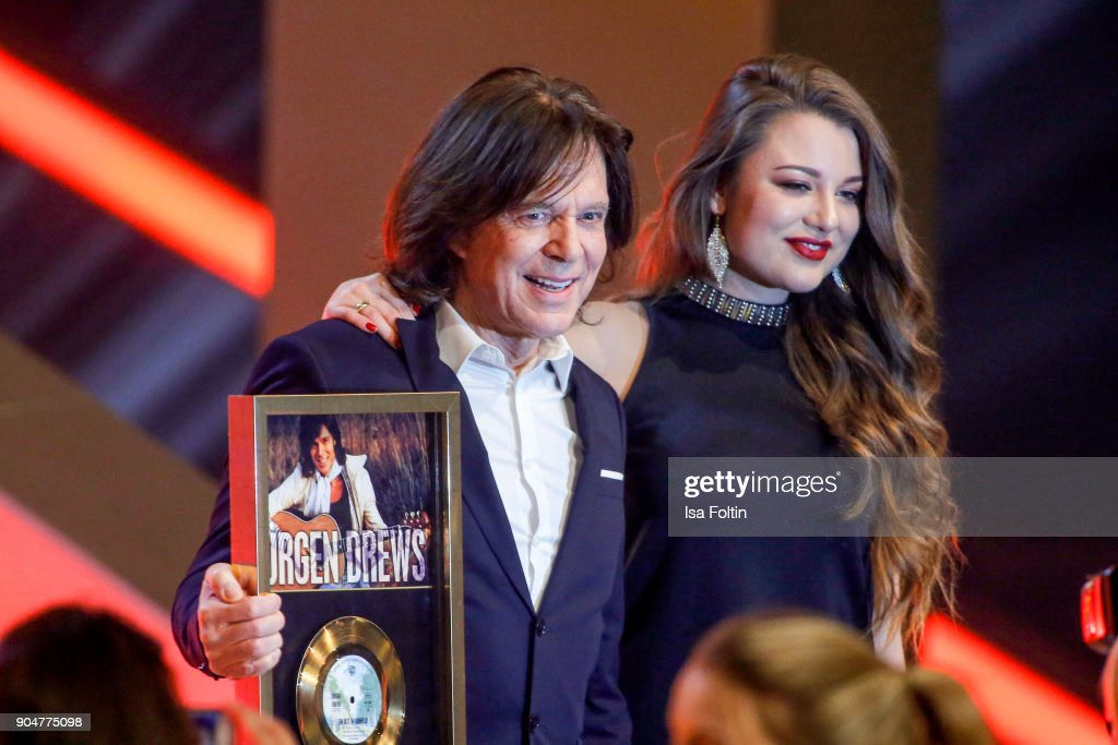 German singer Juergen Drews and his daughter Joelina Drews during the 'Schlagerchampions - Das grosse Fest der Besten' TV Show at Velodrom on January 13, 2018 in Berlin, Germany.