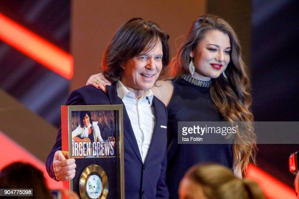German singer Juergen Drews and his daughter Joelina Drews during the 'Schlagerchampions Das grosse Fest der Besten' TV Show at Velodrom on January...