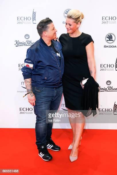 German singer Kerstin Ott and her wife Karoline Ott during the Echo award red carpet on April 6 2017 in Berlin Germany