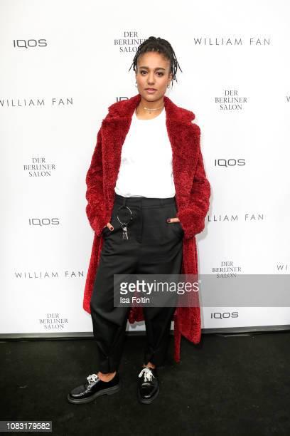 German singer Larissa Sirah Herden alias Lary arrives at the William Fan Defile during 'Der Berliner Salon' Autumn/Winter 2019 at Knutschfleck on...