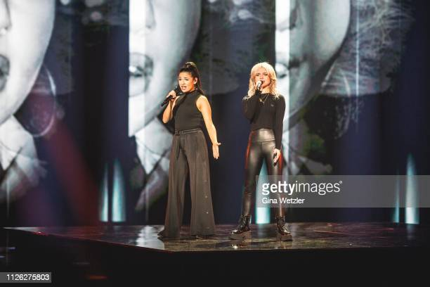 German singer Laura Kästel and Carlotta Truman from Ssters perform live on stage during the rehearsals for Unser Lied fuer Israel at Studio Berlin...