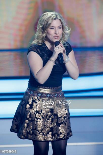 German singer Laura Wilde performs during the tv show 'Willkommen bei Carmen Nebel' on March 24 2018 in Hof Germany The show will be aired on March...