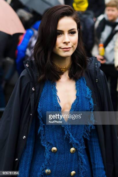 German singer Lena MeyerLandrut is seen on the street attending Balmain during Paris Fashion Week Women's A/W 2018 Collection wearing a blue fringe...