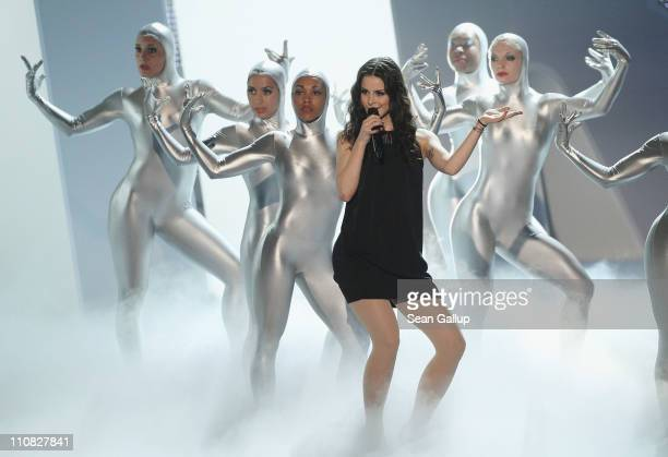 German singer Lena MeyerLandrut performs at the Echo Awards 2011 at Palais am Funkturm on March 24 2011 in Berlin Germany