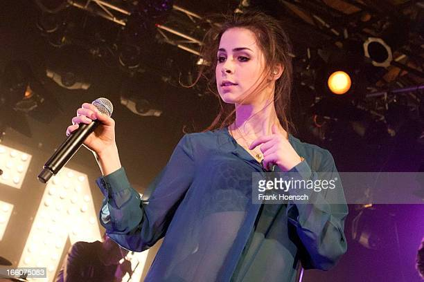German singer Lena MeyerLandrut performs live during a concert at the Postbahnhof on April 8 2013 in Berlin Germany
