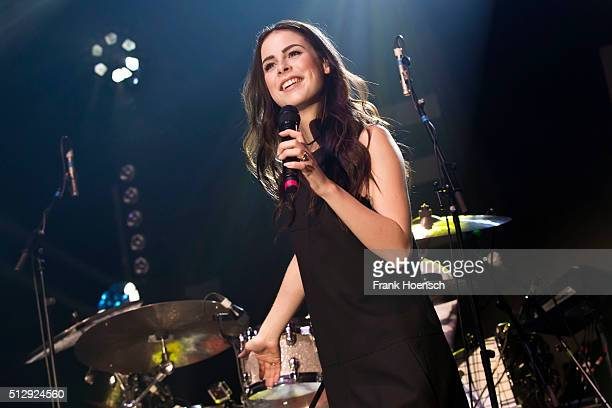 German singer Lena MeyerLandrut performs live during a concert at the Huxleys on February 28 2016 in Berlin Germany