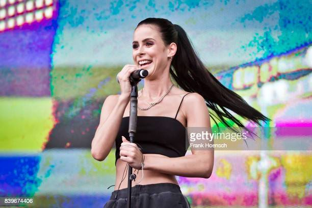 German singer Lena MeyerLandrut performs live on stage during the Festival Stars For Free at the Kindlbuehne Wuhlheide on August 26 2017 in Berlin...