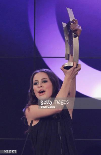 German singer Lena MeyerLandrut speaks after receiving her Most Successful Newcomer Of The Year National Award at the Echo Awards 2011 at Palais am...