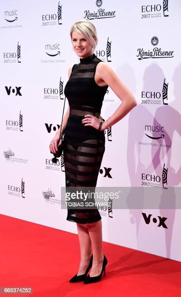 German singer Levina arrives for the 2017 Echo Music Awards in Berlin, on April 6, 2017. / AFP PHOTO / Tobias SCHWARZ