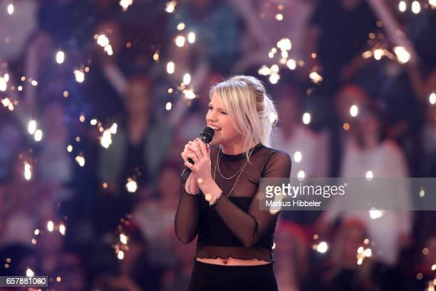 German singer Levina performs during the show 'Schlagercountdown - Das grosse Premierenfest' at EWE Arena on March 25, 2017 in Oldenburg, Germany.