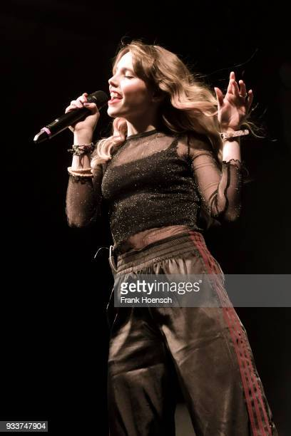 German singer Lina Larissa Strahl performs live on stage during a concert at the Columbiahalle on March 18 2018 in Berlin Germany