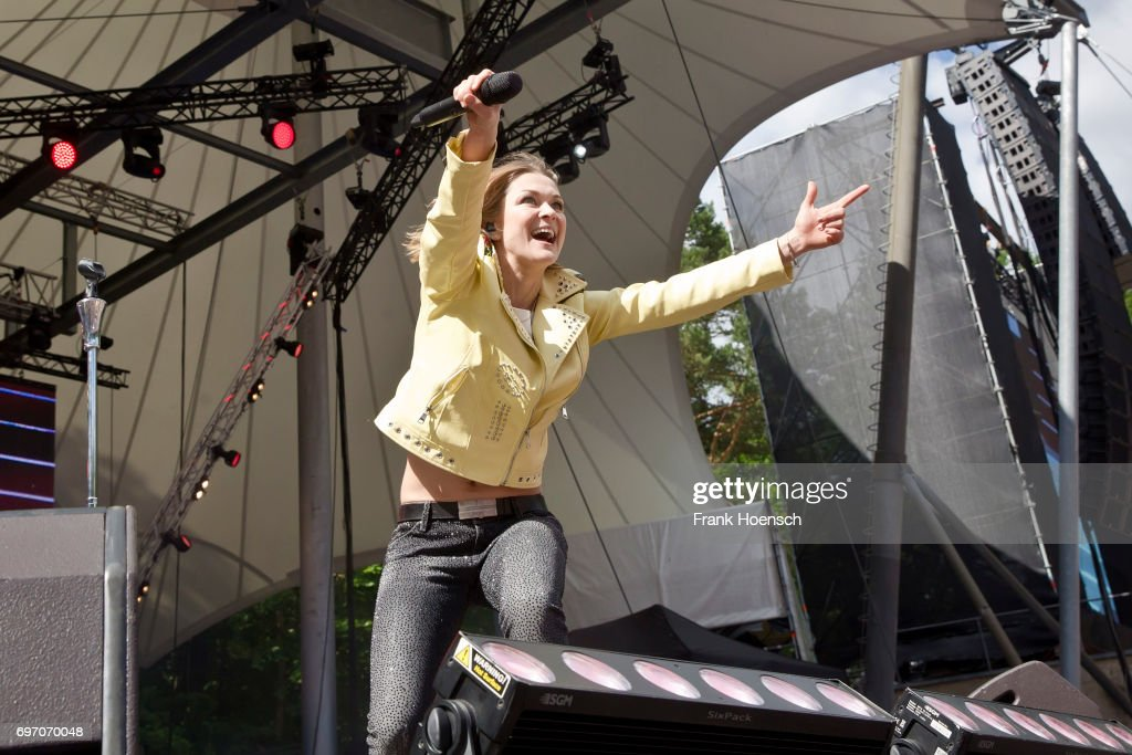 German singer Linda Hesse performs live during the show 'Die Schlagernacht des Jahres' at the Waldbuehne on June 17, 2017 in Berlin, Germany.