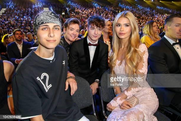 German singer Lukas Rieger, Youtube star Heiko Lochmann and his twin Romann Lochmann alias Die Lochis and influencer Pamela Reif during the Goldene...