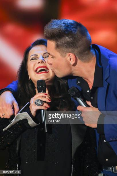 German singer Marianne Rosenberg and Dutch singer Eloy de Jong during the tv show 'Stefanie Hertel Meine Stars' on August 23 2018 in Zwickau Germany