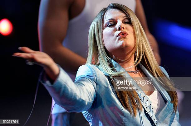 German singer Marianne Rosenberg performs on the Wetten Dass television entertainment show at the TUI arena on January 22 2005 in Hannover Germany