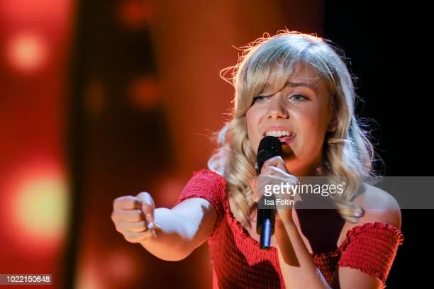 German singer Marie Wegener performs during the tv show 'Stefanie Hertel Meine Stars' on August 23 2018 in Zwickau Germany