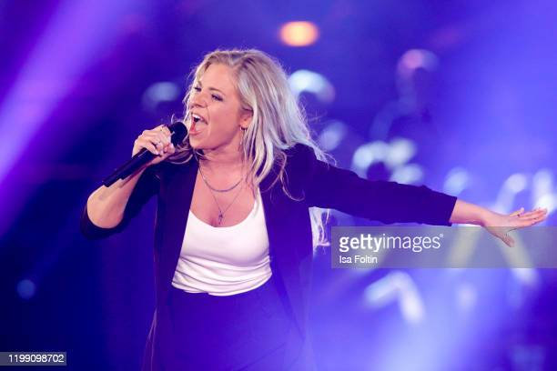 German singer Marina Marx performs during the television show Schlagerchampions Das grosse Fest der Besten at Velodrom on January 11 2020 in Berlin...